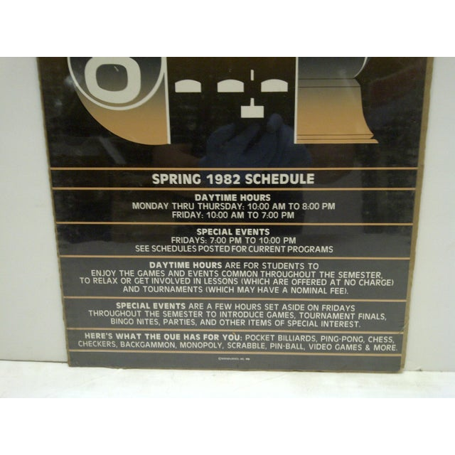 1982 The Que Game Room Spring Schedule Poster - Image 4 of 4