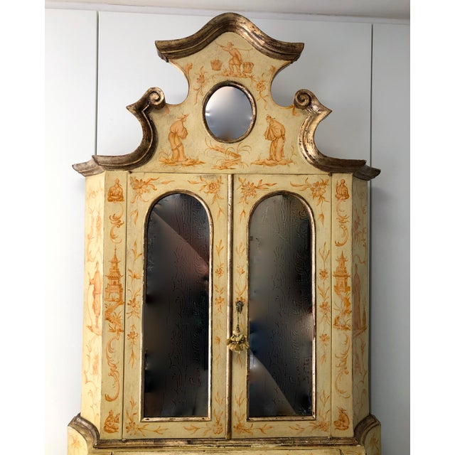 19th C. Italian Hand Painted Secretary Bookcase With Chinoiserie Decor For Sale - Image 4 of 11