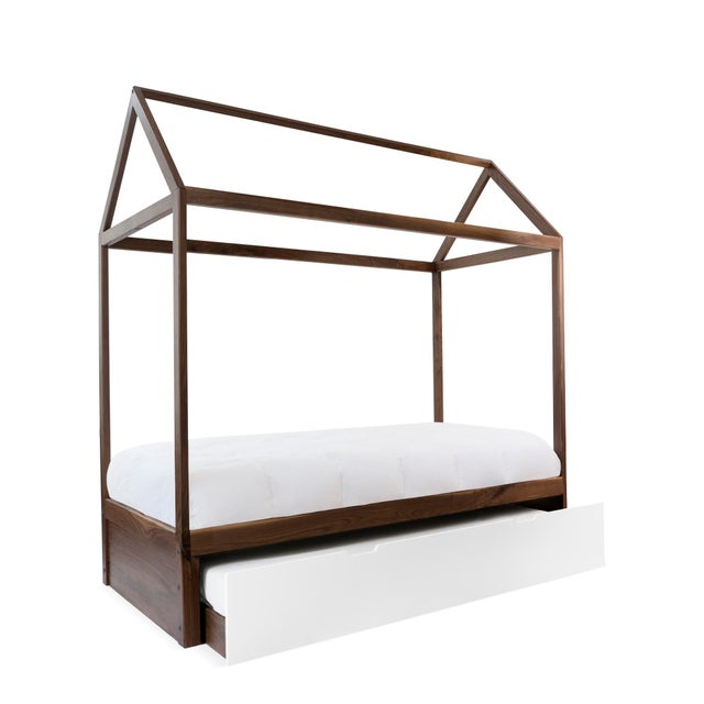 Nico & Yeye Domo Zen Full Trundle Canopy Bed in Walnut With White Finish For Sale - Image 4 of 4