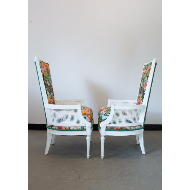 Regency Vintage Caned Chairs in Schumacher Chiang Mai Dragon For Sale - Image 3 of 9