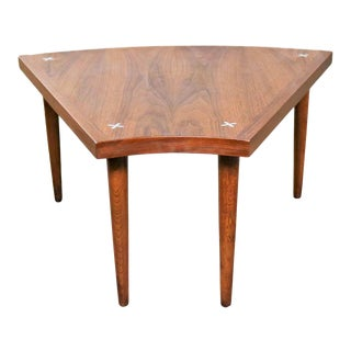 Walnut Wedge Shape End Table Attributed to Merton Gershun for American of Martinsville For Sale