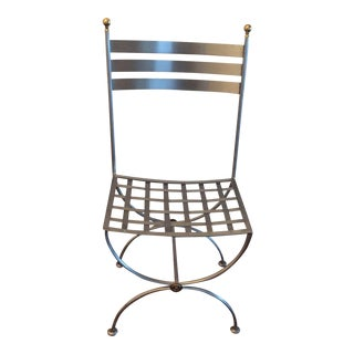 Brass & Iron Savonarola Side Chair