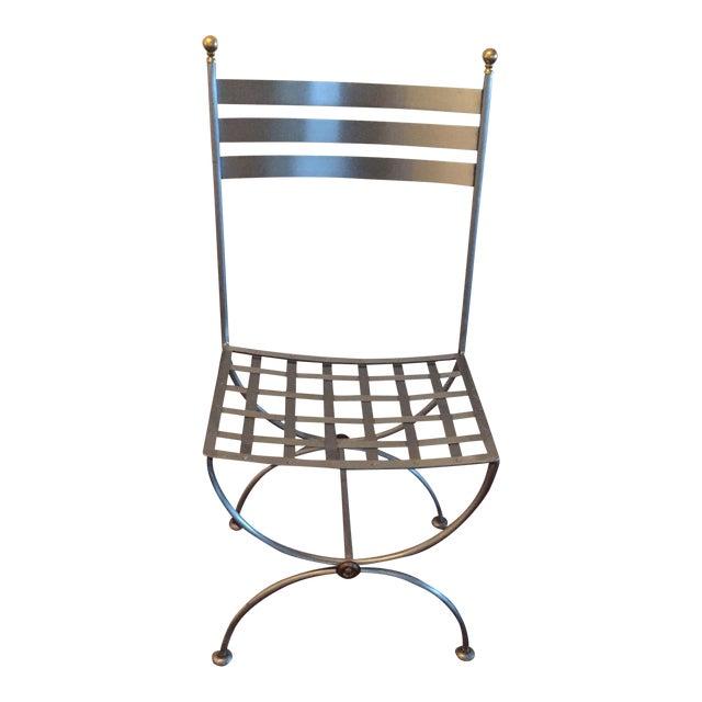 Brass & Iron Savonarola Side Chair For Sale