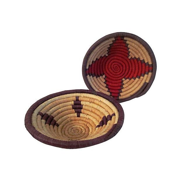 Vintage Petite African Coiled Baskets - A Pair - Image 1 of 6