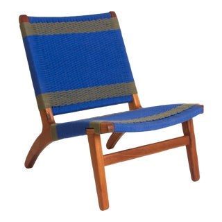 Blue & Gray Woven Lounge Chair For Sale