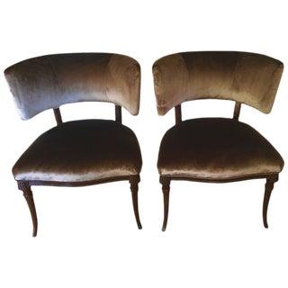 Grosfeld House Belgian Velvet Chairs - a Pair