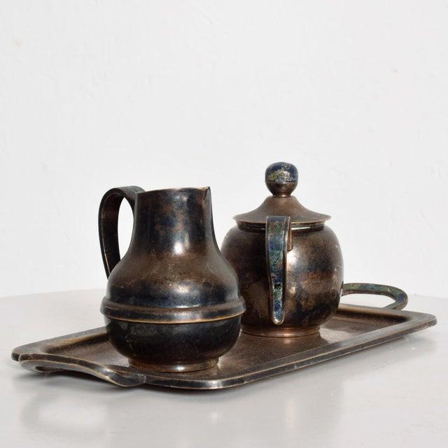 Mid-Century Modern Los Castillo Coffee Tea Serving Set Silverplate & Malachite Azurite Stone Mexican Mid Century For Sale - Image 3 of 11