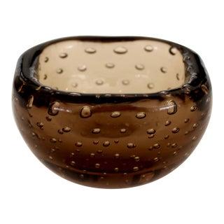 1950s Carlo Scarpa for Venini Murano Bulicante Small Bowl Amber Glass For Sale