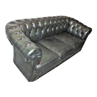 Vintage Chesterfield Sofa in Green For Sale
