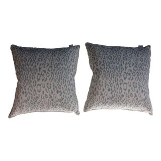Grey and White Snow Leopard Print Pillows- Pair For Sale