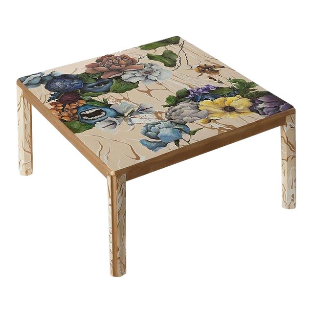 1 Funeral, 2 Faces, Hand-Painted Coffee Table by Atelier Miru For Sale