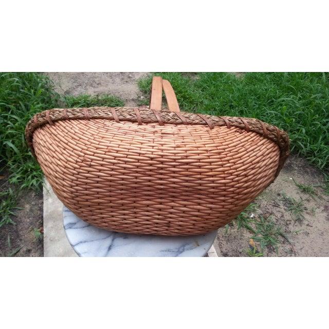 Vintage Rattan Gathering Basket - Image 4 of 5