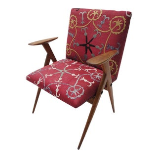 Vintage Suzani Upholstered French Occasional Chair For Sale