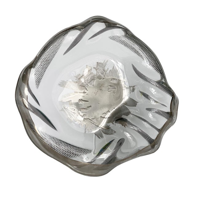 Unique Sculptural Art Glass Low Bowl With Silver Details For Sale - Image 12 of 12
