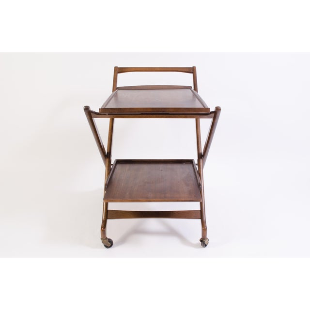 Danish Folding Walnut Bar Cart With Serving Tray - Image 4 of 11