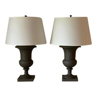 Modern Gray Mottled Urn Table Lamps- a Pair For Sale