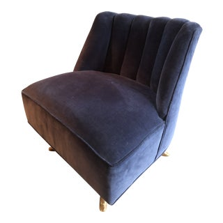 Mid Century Channel Back Swivel Chair For Sale