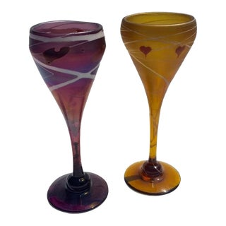 1970s Vintage Hand-Blown & Signed Art Glass Wine Glasses in Yellow and Purple - a Pair For Sale
