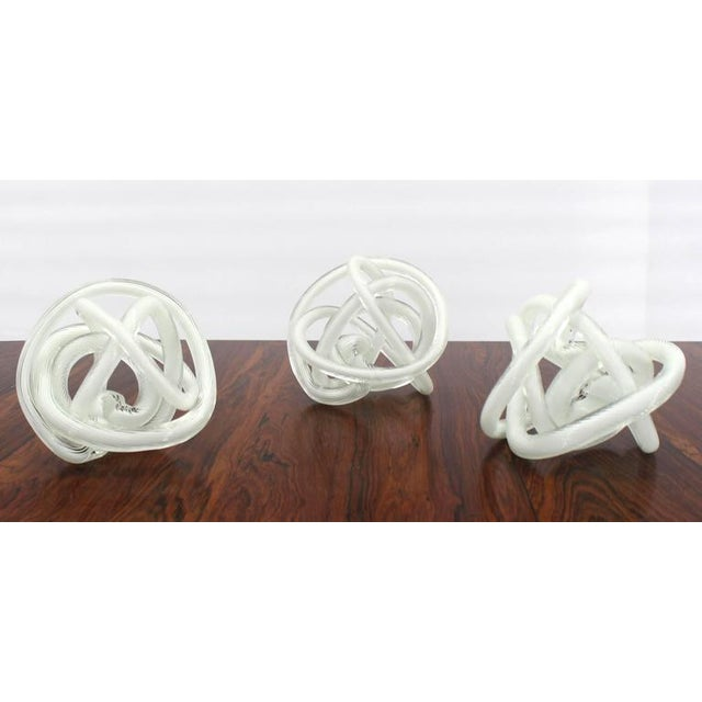 White Set of Three Blown Glass Mid-Century Modern Sculptures For Sale - Image 8 of 8