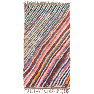 Vintage Mid-Century Moroccan Transitional Pink and Blue Multicolor Wool Rug - 3′10″ × 6′4″ For Sale