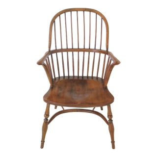 English Made Distressed Oak & Ash Windsor Arm Chair For Sale