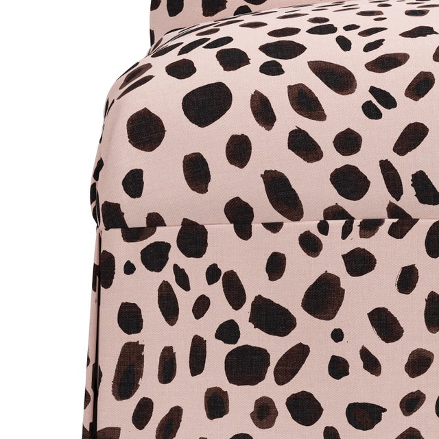 Not Yet Made - Made To Order Slipcover Dining Chair in Washed Cheetah Pink Black For Sale - Image 5 of 8