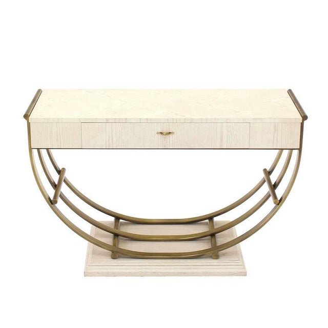 Very nice Mid Century Modern brass u-shape base white oak finish sofa or console table.
