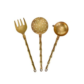 Vintage Bamboo Design Solid Brass Cooking Utensils Wall Hanging Kitchen Decor - - Set of 3 For Sale