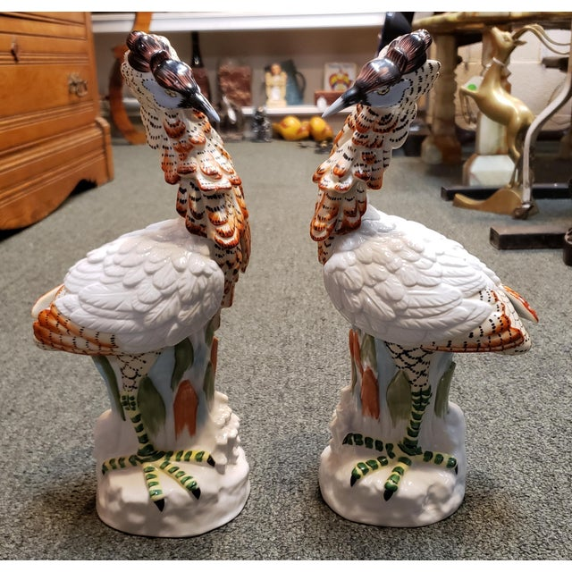 1980s Mottahedeh Porcelain Crested Crane Statuettes Made in Japan - a Pair For Sale In New Orleans - Image 6 of 6