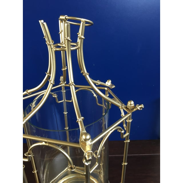Glass Gold Finish Pagoda Lantern For Sale - Image 7 of 11
