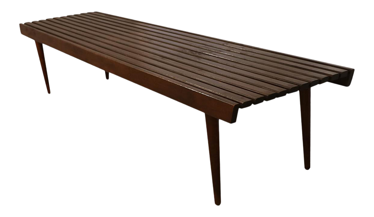 - Extra Long Mid Century Slatted Wood Bench Coffee Table George
