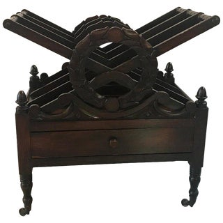 19th Century Traditional Hand Carved Mahogany Magazine Rack For Sale