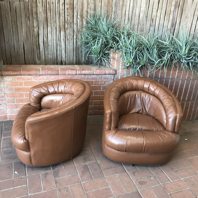 1970s Brown Leather Swivel Barrel Chairs - a Pair For Sale In Phoenix - Image 6 of 7