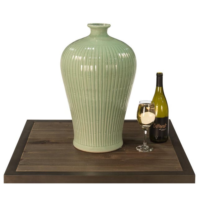 Contemporary Sarried Ltd Celadon Carved Bamboo Prunus Vase For Sale - Image 3 of 5