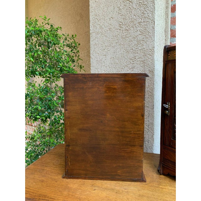 Antique English Inlaid Tiger Oak Pipe Smoke Cabinet Game Box Humidor Copper For Sale - Image 12 of 13