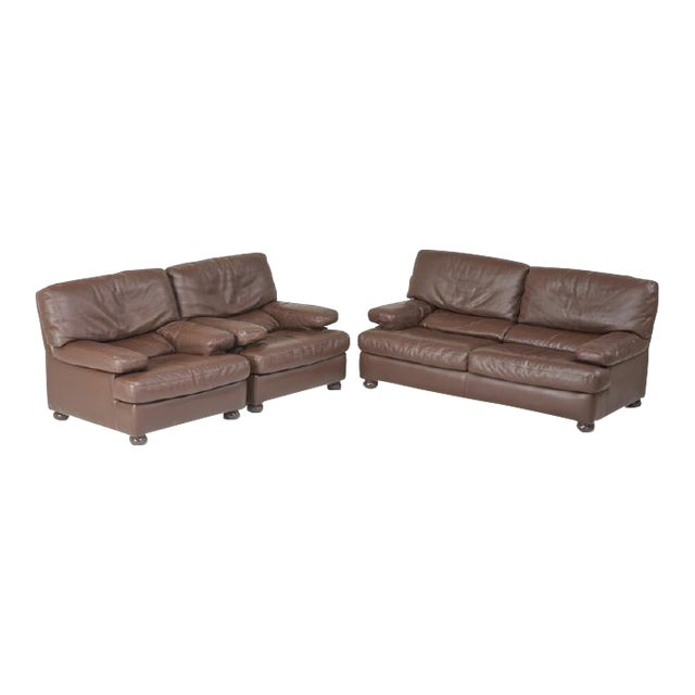 Roche Bobois Leather Sofa and Pair of Lounge Chairs, France, Circa 1980 For Sale