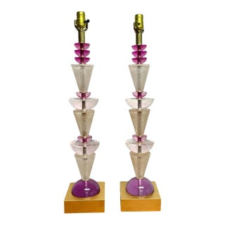 Modern Van Teal Lucite Column Lamps -A Pair For Sale
