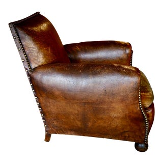 1930s French Leather and Cloth Seat Club Chair For Sale