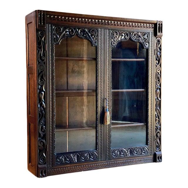 1880 Antique Gothic Solid Oak Bookcase For Sale
