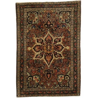 Antique Persian Farahan Accent Rug with Traditional Style