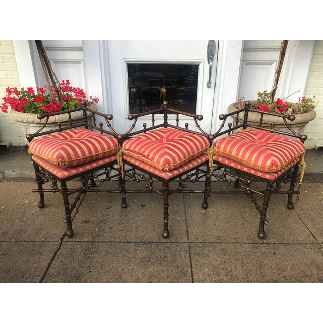 Directoire Style Triple Corner Chair Designer Bench W Iron Bamboo Frame For Sale - Image 4 of 4