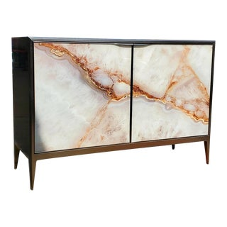 Ellington Brushed Nickel Metal & Agate Door Chest / Console For Sale