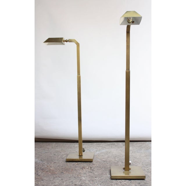 1970s Pair of 1970s Patinated Brass Chapman Floor Lamps For Sale - Image 5 of 13
