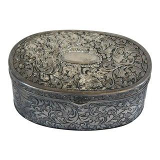 Vintage Silver-Plate Jewel Casket For Sale