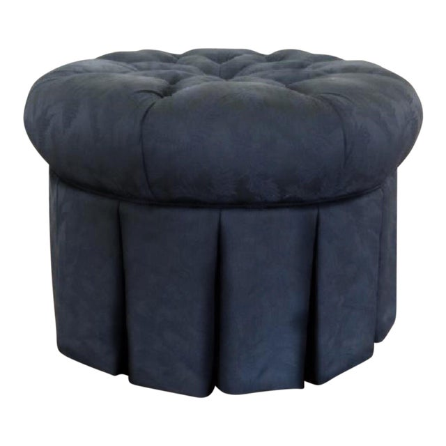 Tufted Black Brocade Round Traditional Ottoman - Image 4 of 4