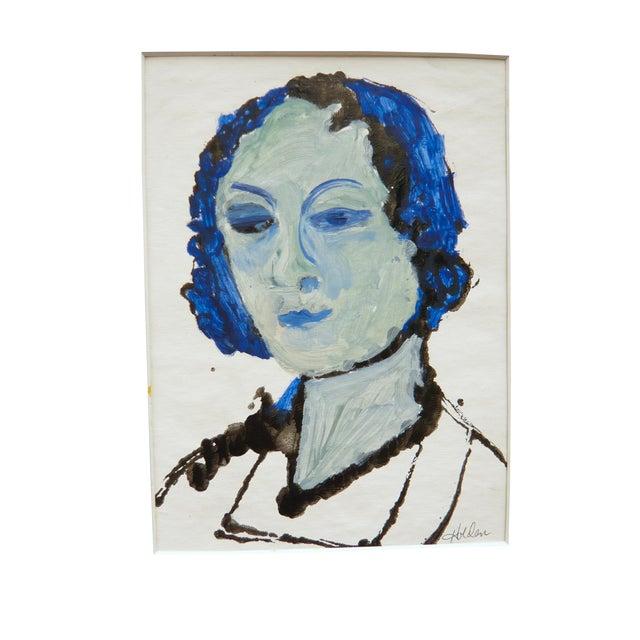 Blue Lady Gouache & Acrylic Painting - Image 1 of 3