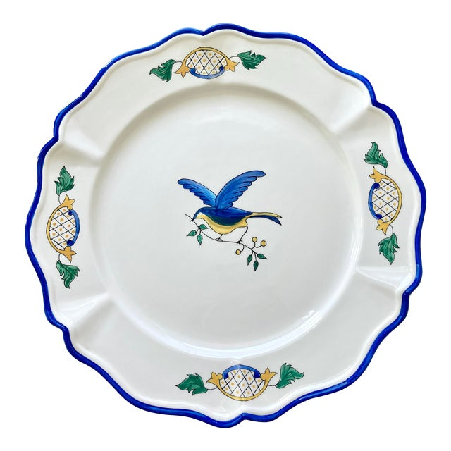 1980s Scalloped Border Hand Painted Bluebird Earthenware Platter Made in the Philippines For Sale