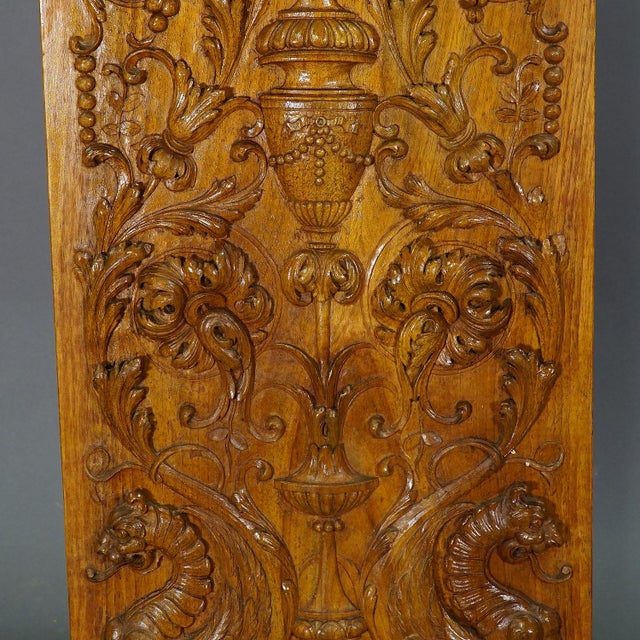 Wooden Carved Panel With Eagle and Gargoiles, Germany Ca. 1920 For Sale - Image 6 of 8