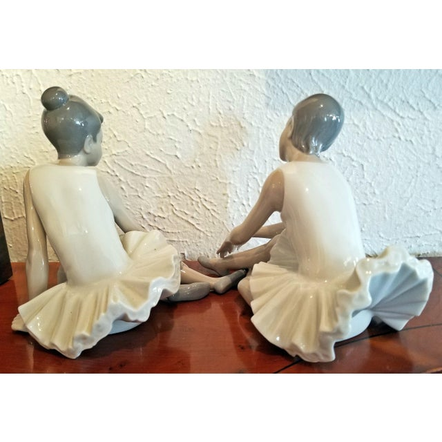 Ceramic Pair of Spanish Porcelain Ballet Dancers by Nao For Sale - Image 7 of 9
