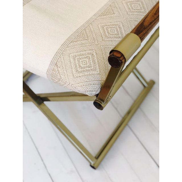 1970s Mid Century Brass Milo Baughman Style Campaign Director's Chair For Sale - Image 10 of 11